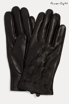 Phase Eight Black Laurie Leather Pintuck Gloves