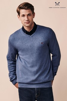 Crew Clothing Company Blue Foxley V-Neck Jumper