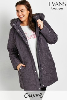 Evans Curve Grey Quilted Coat