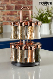 Rotating Spice Rack 16 Jars Set by Tower
