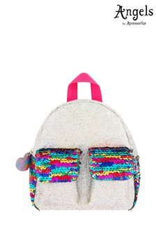 Angels By Accessorize Silver Sequin Double Pocket Backpack
