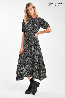Free People Black Ditsy Print Midi Dress