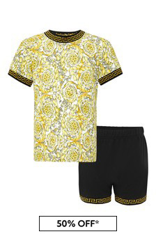 Versace Baby Boys White Cotton T-Shirt And Shorts Set
