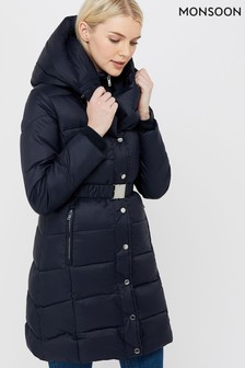Monsoon Ladies Blue Laurel Belted Shawl Long Padded Coat
