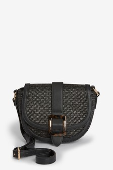 Raffia Saddle Across-Body Bag With Buckle Detail