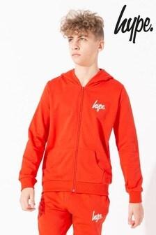 Hype. Red Mini Script Kids Zip Through Hoody