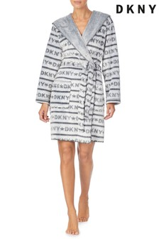 DKNY Grey Fleece Short Dressing Gown