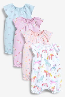 4 Pack Watercolour Unicorn Rompers (0mths-3yrs)