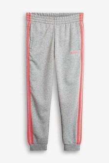adidas Grey 3 Stripe Linear Logo Joggers