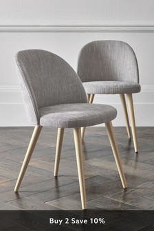 Set of 2 Zola Dining Chairs With Light Legs