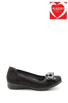 Heavenly Feet Black Ladies Bow Detail Pumps