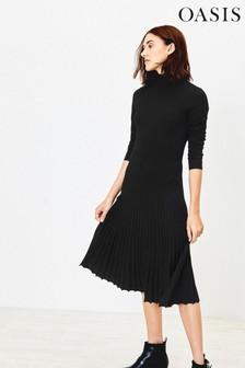 Oasis Black Polo Neck Pleated Midi Dress