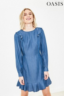 Oasis Blue Denim Skater Dress