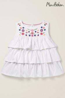 Mini Boden White Embroidered Blouse