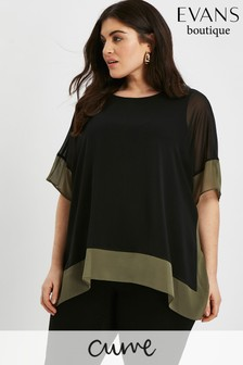 Evans Black Contrast Hem Top