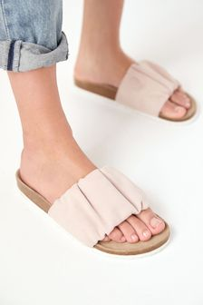 Forever Comfort® Ruched Leather Footbed Sandals