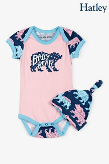 Hatley Pink Cottage Bears Baby Bodysuit With Hat