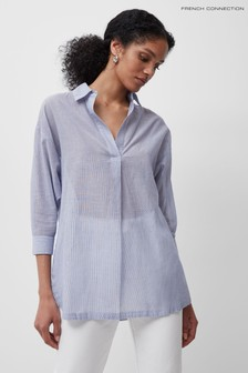 French Connection Blue Timmie Stripe Pop Over Shirt