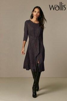 Wallis Petite Black Heart Print Midi Dress