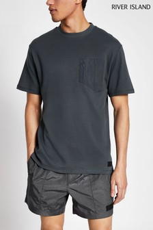 River Island Grey Nylon Panel T-Shirt