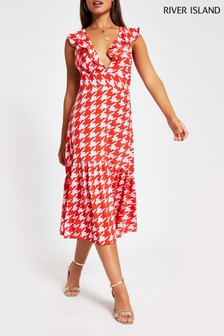 River Island Pink Dogtooth Annecy Midi Dress