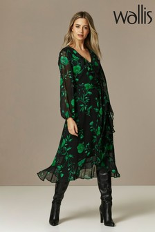 Wallis Petite Green Floral Ruffle Midi Dress