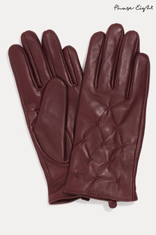 Phase Eight Red Laurie Leather Pintuck Gloves