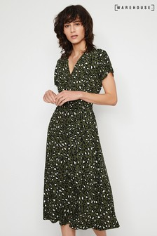 Warehouse Green Leopard Button Midi Dress