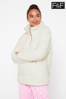 F&F Oatmeal Zip Neck Cosy Top