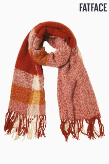 FatFace Orange Ella Block Stripe Scarf