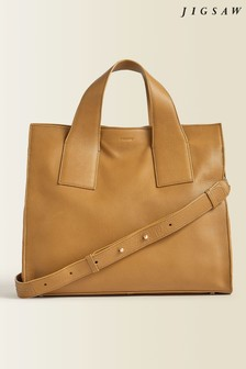Jigsaw Camel Roscoe Leather Work Bag