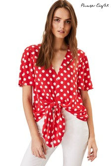 Phase Eight Red Marilyn Spot Tie Blouse
