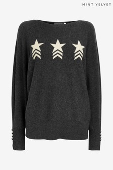Mint Velvet Grey Charcoal Star Front Batwing Top