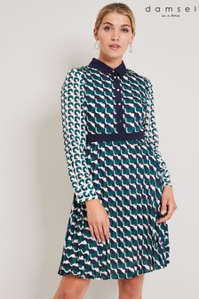 Damsel In A Dress Green Emory Print Pleat Dress