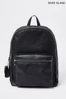 River Island Black Small Monogram Backpack