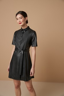 PU Belted Shirt Dress