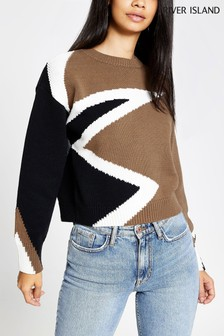 River Island Beige Print Star Flash Jumper