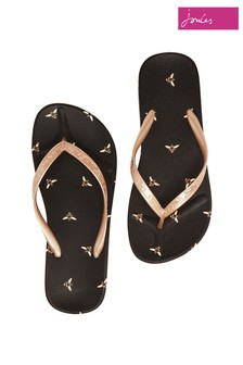 Joules Black Flip Flop Lightweight Summer Sandals