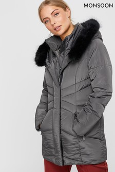 Monsoon Ladies Grey Victoria Short Wrap Padded Jacket