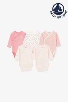 Набор из пяти боди (розовые/др.) Petit Bateau