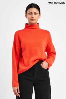 Whistles Red Soft Roll Neck Wool Sweater