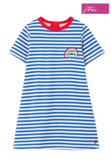 Joules Blue Rosalee Short Sleeve A-Line Artwork Dress