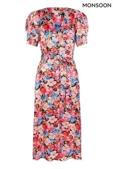 Monsoon Blue Faith Floral Printed Satin Shirt Dress