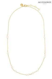 Accessorize Cream Z Irregular Pearl Station Necklace
