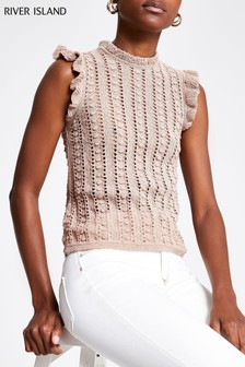 River Island Sand Monica Frill Tank Top