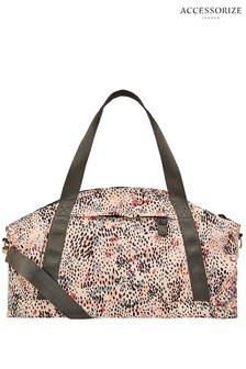 Accessorize Cream Reversible Animal Weekender Bag