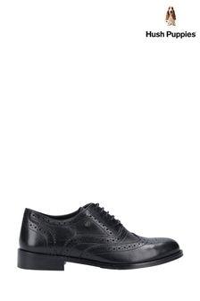 Hush Puppies Black Natalie Brogue Lace-Up Shoes