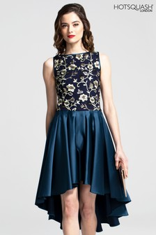 HotSquash Boat Neck Midi Dress With High Low Skirt