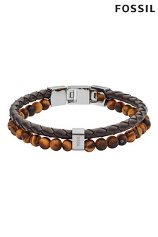 Fossil Brown Bead And Cord Bracelet