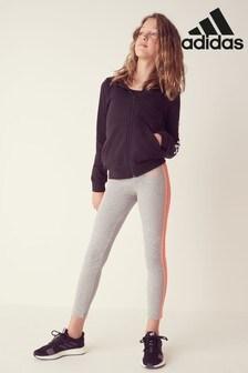 adidas Grey 3 Stripe Linear Logo Leggings